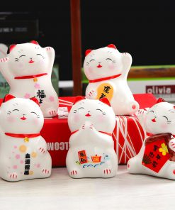 Set of 5 Ceramic Maneki Neko Figurines