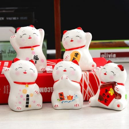 Set of 5 Ceramic Maneki Neko Figurines