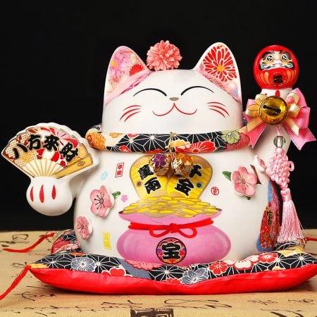 10 Inch Ceramic Fengshui Cat Maneki Neko