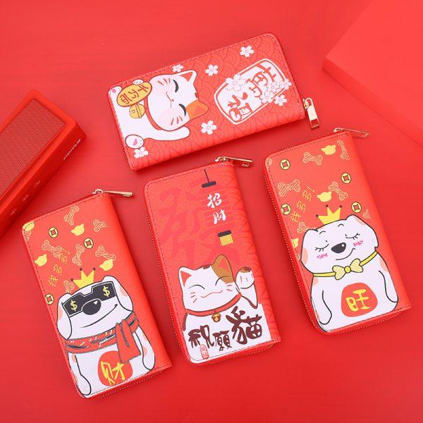 Cute Lucky Cat Maneki Neko Zipper Wallets