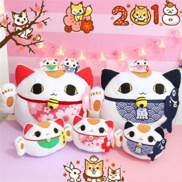 Cute Fortune Cat Maneki Neko Plush