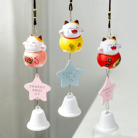 Cute Lucky Cat Maneki Neko Wind Bell Hanging Ornaments