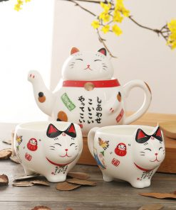 Maneki Neko Ceramic Teapot Teacup Set