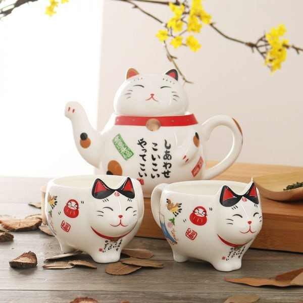 Maneki Neko Ceramic Teapot Teacup Set