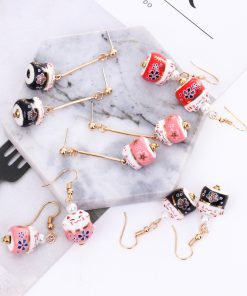 Maneki Neko Dangle Earrings