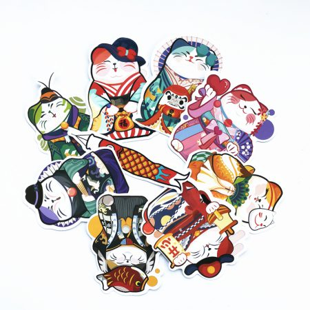 9Pcs Maneki Neko Lucky Cat Adorable Sticker