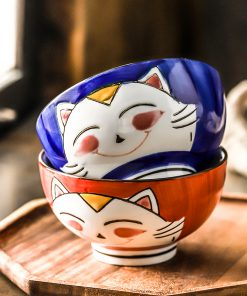 2-piece Lucky Cat Ceramic Rice Bowl