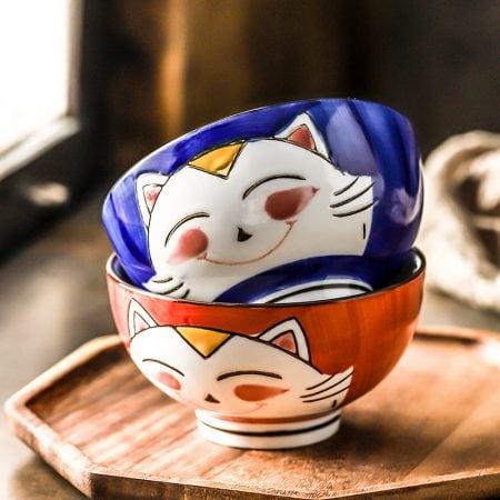 2-piece Lucky Cat Ceramic Rice Bowl