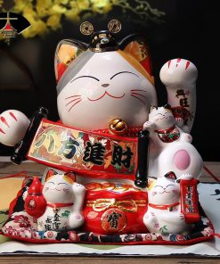 Japanese Lucky Cat Maneki Neko Ceramic Cat Money Box