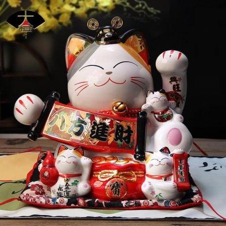 Japanese Lucky Cat Maneki Neko Ceramic Cat Money Box