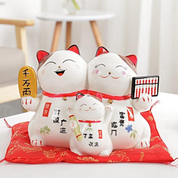 8 inch Happy Couple Maneki Neko Ceramic Lucky Cat