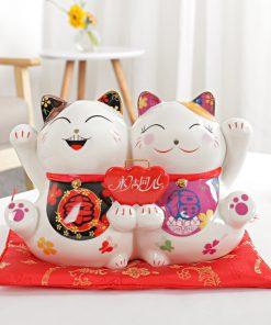 9.5 inch Ceramic Maneki Neko Lucky Cat Couple Money Box