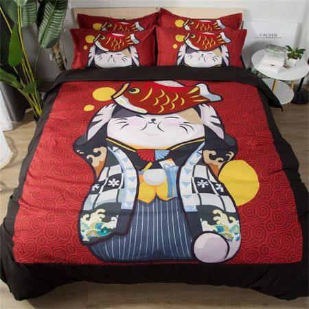 Japanese Maneki Neko New Year Decor Bedding Sets
