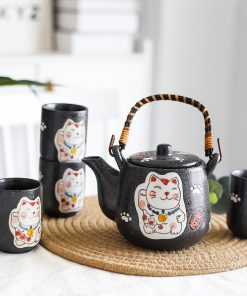 Set of Japanese Ceramic Maneki Neko Tea Pot