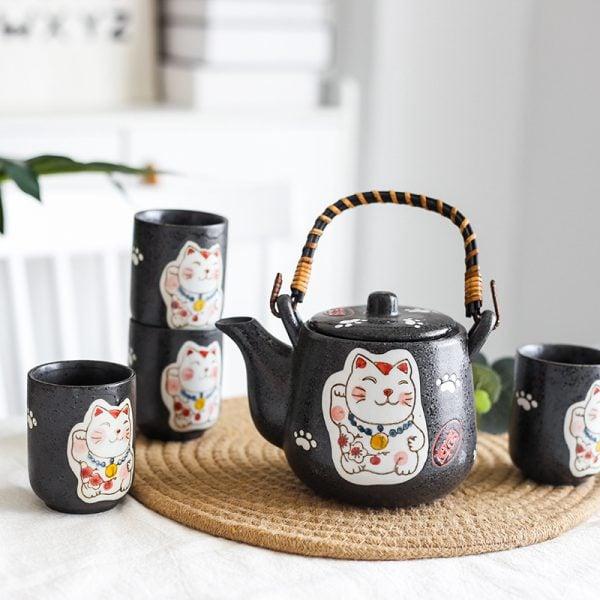Set of Japanese Ceramic Maneki Neko Tea Pot