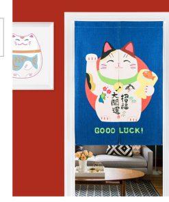 Chinese Fortune Cat Door-Curtain