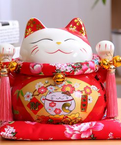 7 Inch 2019 Chinese Style Maneki-Neko Ceramic Fortune Cat