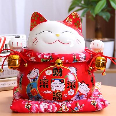 7 Inch Chinese Style Maneki-Neko Ceramic Lucky Cat