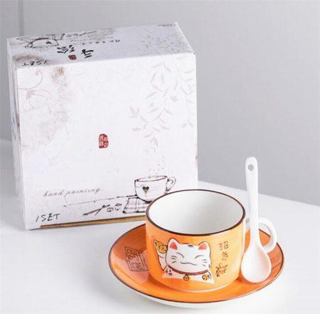 5 Colors Handcraft Lucky Cat Maneki Neko Ceramic Mugs