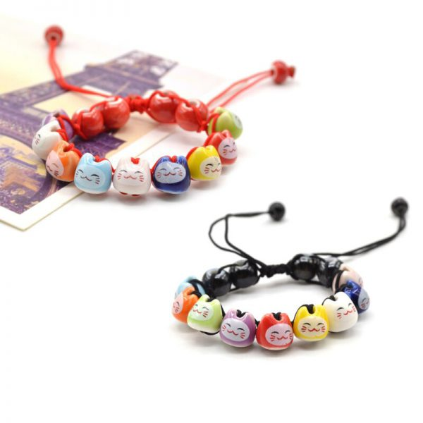 Maneki Neko Lucky Cat Charm Beaded Bracelet