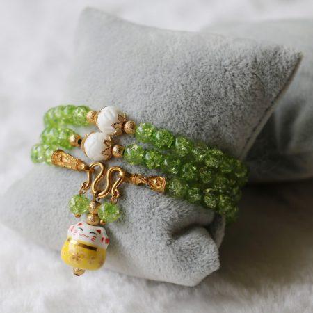 6mm Maneki Neko Fortune Cat Crystal Bracelets