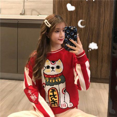 Red Maneki Neko Lucky Cat Round Neck Sweater