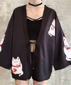 Maneki Neko Japanese Lucky Cats Harajuku Kimono