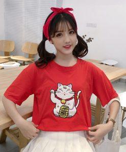 Summer Maneki Neko Lucky Cat Basic T-shirt