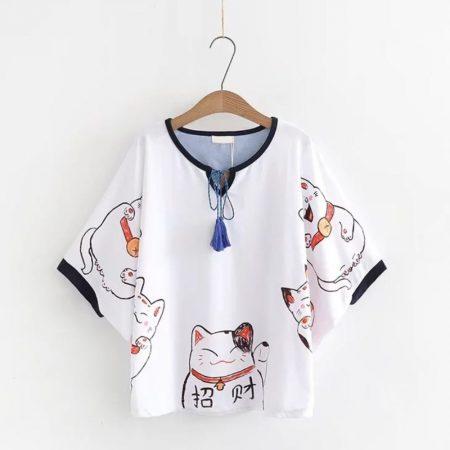 Maneki Neko Lucky Cat Short Sleeve T-shirt