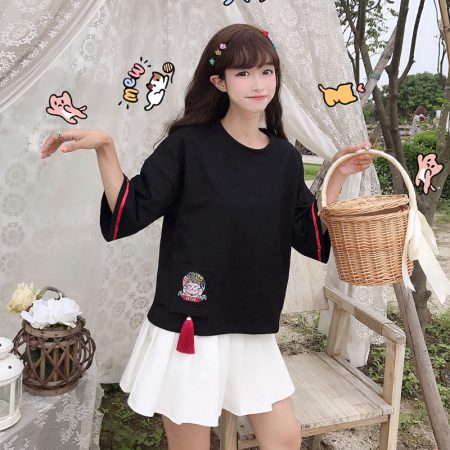 Japanese Style Retro Maneki Neko Lucky Cat T-shirt