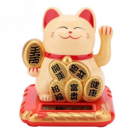 Lucky Cat Solar Powered Maneki Neko Waving Cats