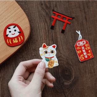 Japan Lucky Cat Maneki Neko Sticker Hats Backpack